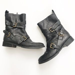 Nine West Motorcycle Boots Black Leather Trentao